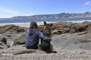 Felix the shepherd with his best friend on the beach Goulien
